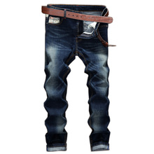 Europe and the United States male personality Splicing Slim Elasticity Small straight jeans