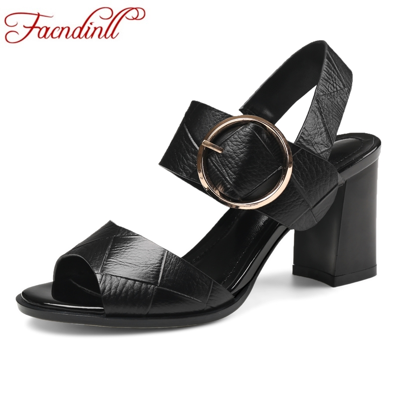 FACNDINLL genuine leather women sandals new fashion high heels sexy peep toe buckle balck white shoes woman dress summer sandals facndinll genuine leather sandals for