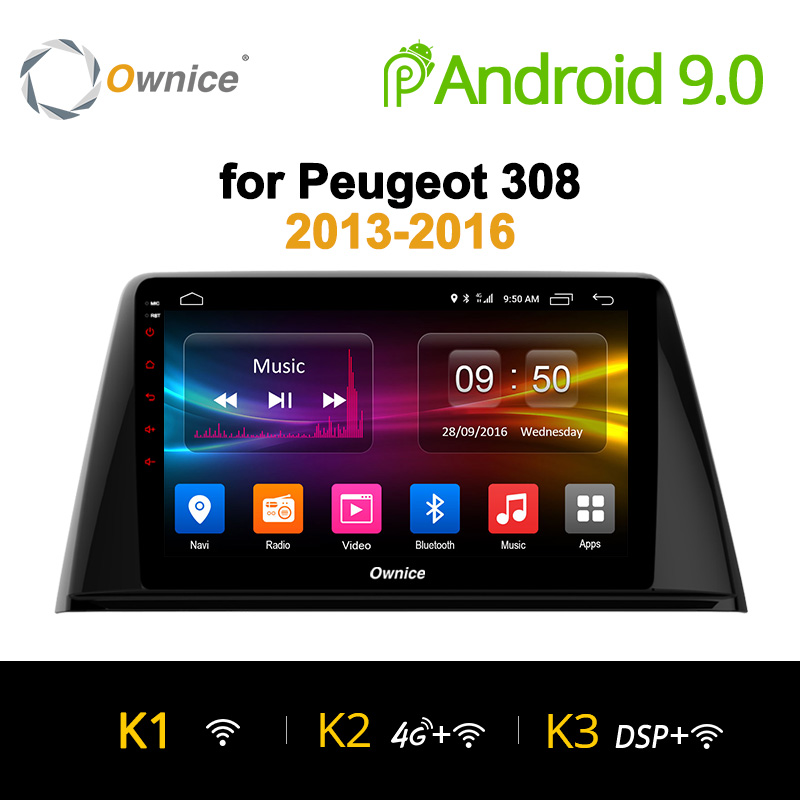 Ownice K1 K2 K3 8 Core Android 8.1 car radio tablet GPS player headunit audio Navi for Peugeot 308 2013-2016 Support DVD Camera