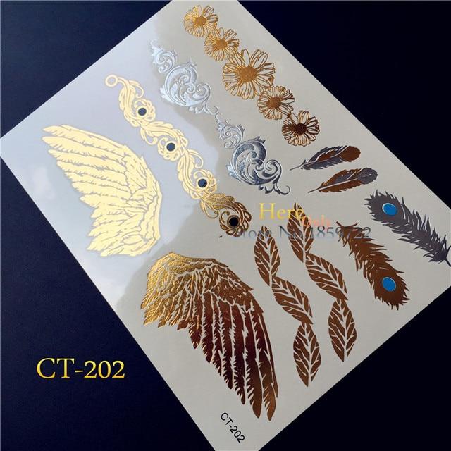 Hot Popular Tattoo Angel Wing Gold Flash Tattoo Feather Silver Metallic Tatoo Bracelet Temporary Tattoo Sticker Sex Women HCT202