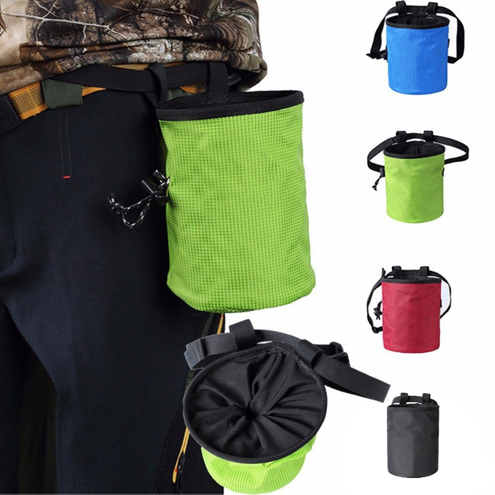 Brilliant Adjustable Waist Belt Chalk Bag Magnesium Powder Storage Pouch For Rock Climbing Gym With Drawstring