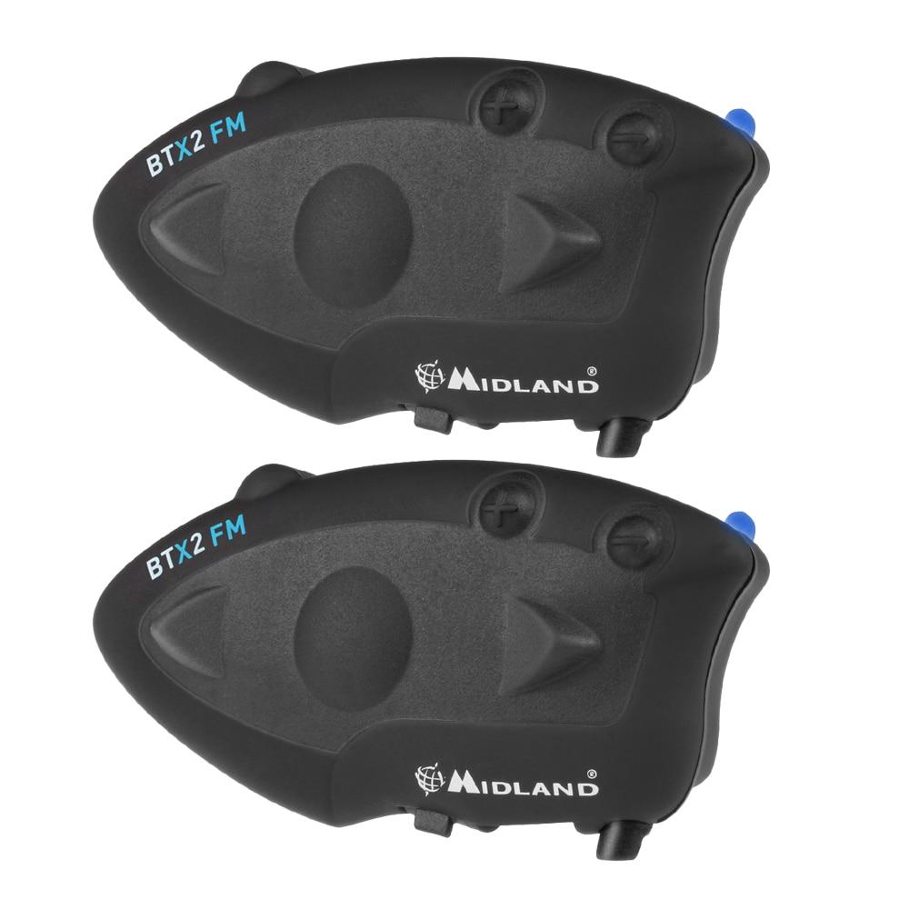 2 pcs Midland Moto Casque Interphone BTX2 FM 800 m Moto Bluetooth Casques BT Moto Intercom Connect À Plus 4 personnes