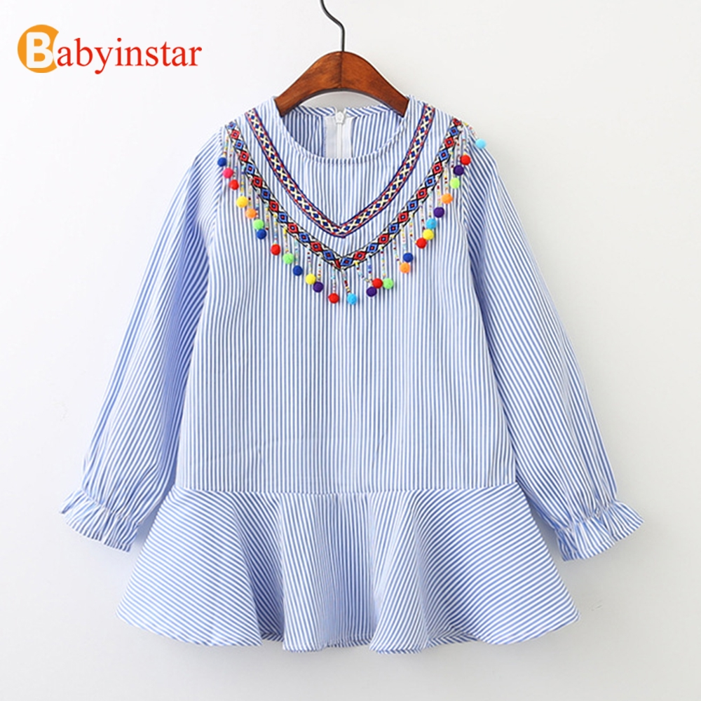 Babyinstar Casual Dress for Girls Colorful Ball Autumn Long Sleeve Children's Tunic 2017 New Baby Costume Kids Princess Dress 4pcs new for ball uff bes m18mg noc80b s04g