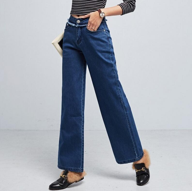 2017 spring autumn new fashion tassel wide leg jeans women's loose denim pants w59 2017 new spring