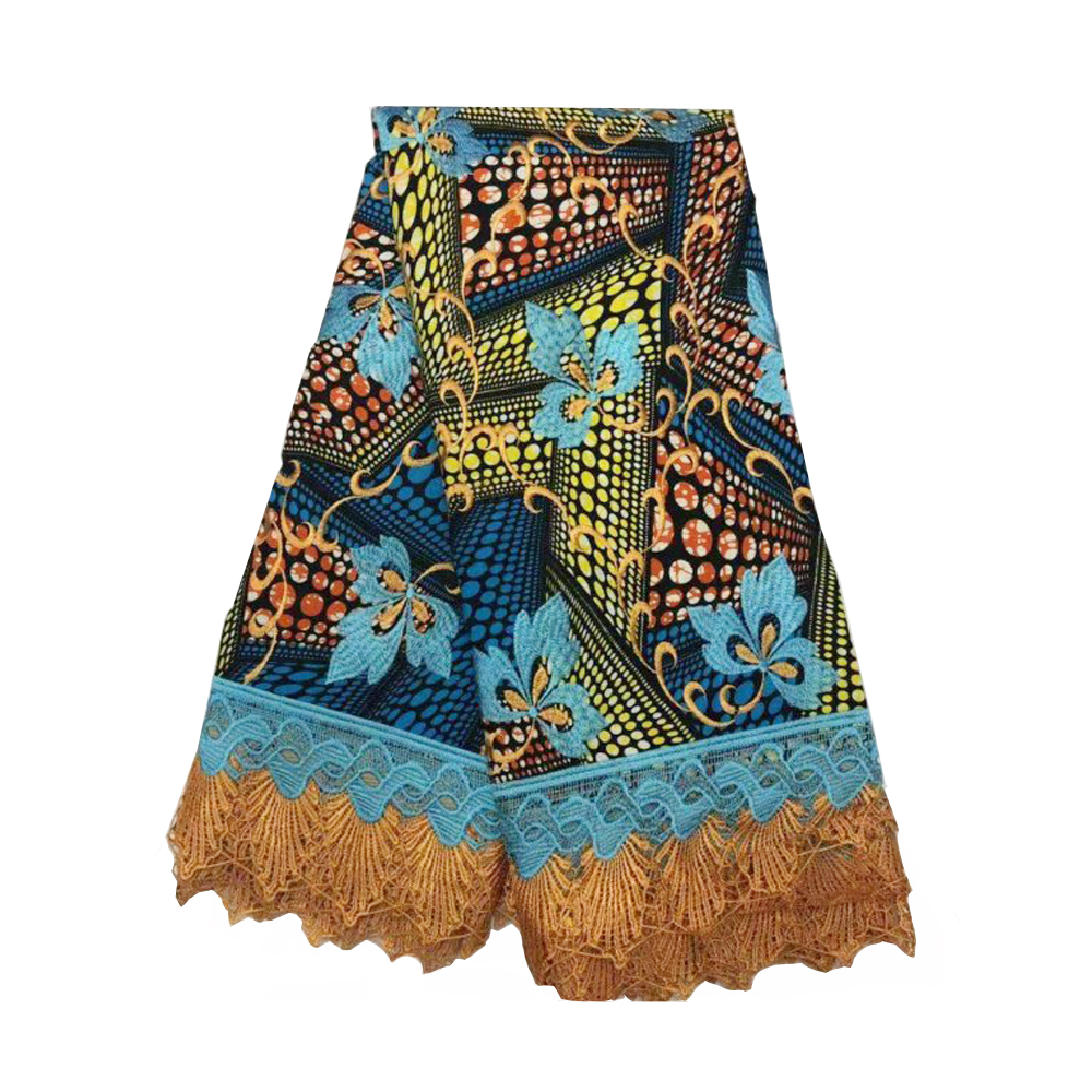 Nigeria Africa Super Wax With Lace Printed Wax Fabrics For Women Guaranteed Real Dutch Wax With Embroidery 6 Yards Free Shipping