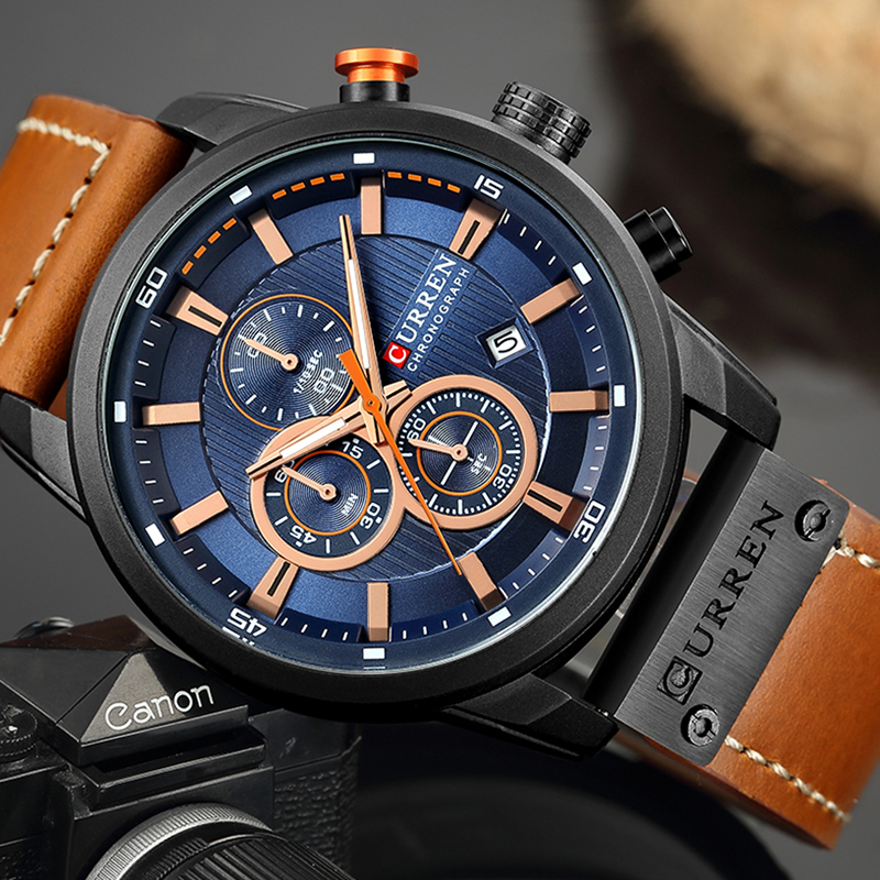Relogio Masculino Curren 8291 Quartz Blue Vogue Business Sports Watches Luxury Brand Men's Army Military Watch Man Quartz Clock(China)