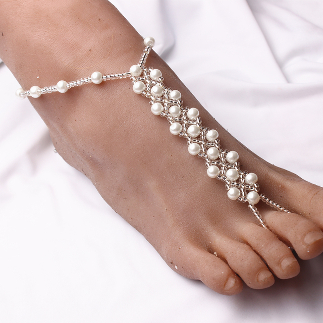 1 pair pearl beads barefoot sandals high quality elastic beaded anklets foot jewelry for beach wedding