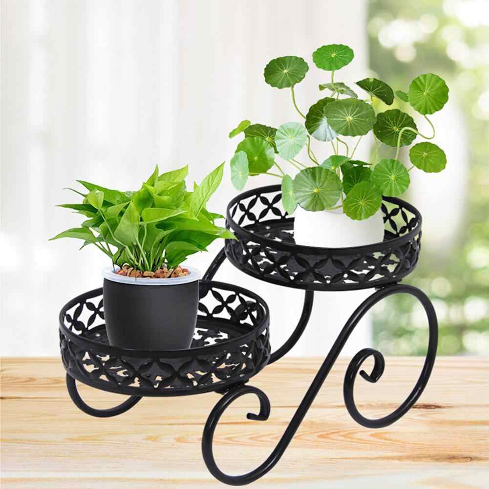 Simple Wrought Iron Flower Stand High And Low Succulent Plant Pot Rack Living Room Balcony Floor Plant Stand