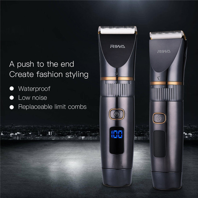 Professional Waterproof Hair Trimmer LED Display Men's Haircut Cutting Machine Grooming Low Noise Clipper Titanium Ceramic Blade