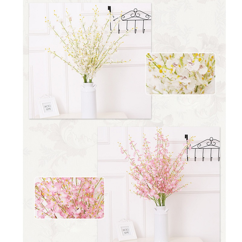 Yeni 5 Millet Yapay Buttterfly Orkide Çiçeği Şube Sahte Ipek - Tatiller ve Partiler Için - Fotoğraf 4