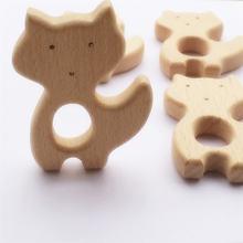 Chenkai 10 шт лиса деревянный Прорезыватель для зубов природа