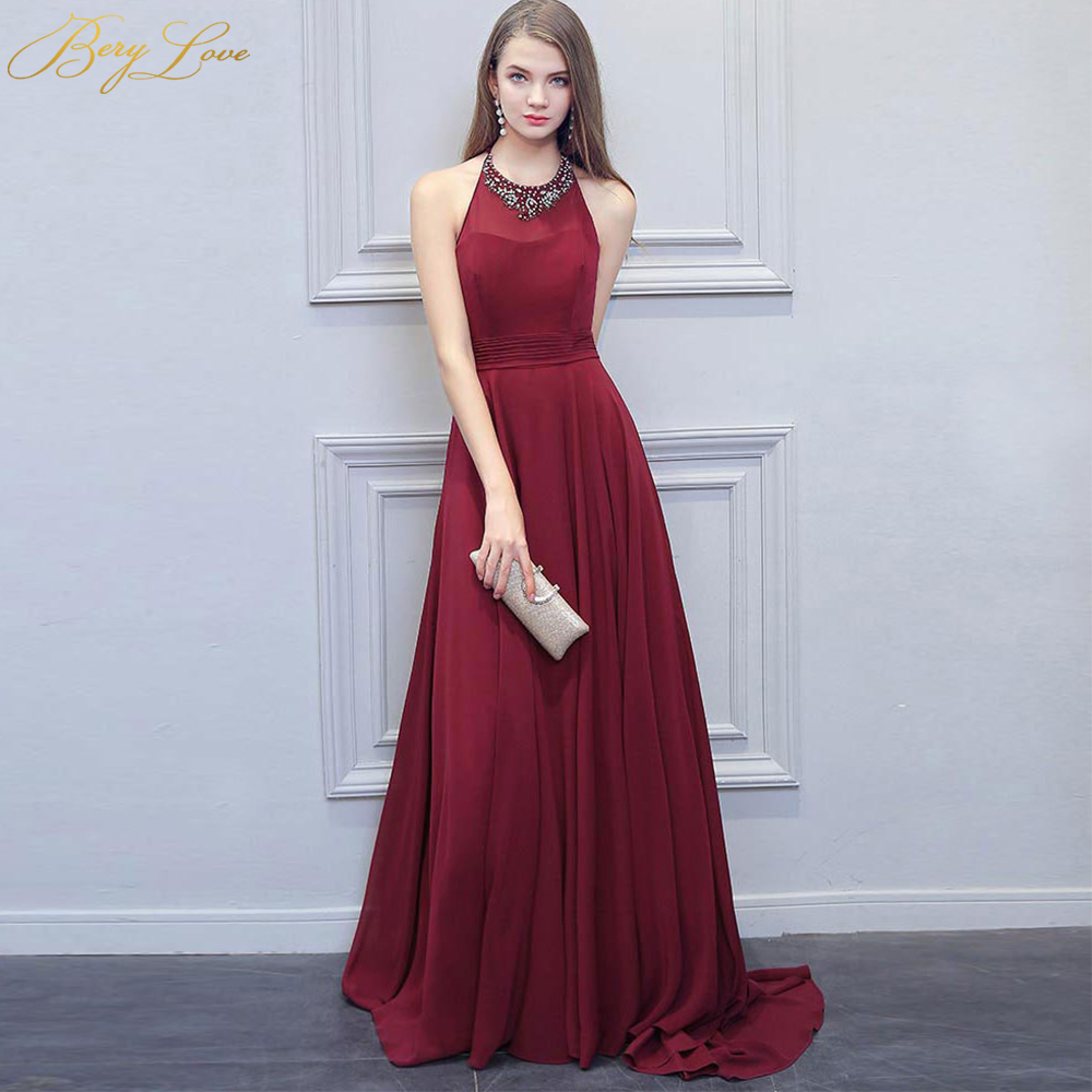 a7875d7e2d459 US $99.99 |BeryLove Fashion Burgundy Prom Dress 2019 Long Beaded Halter  Backless Wine Red Evening Formal Dress Beading Halter Gown-in Evening  Dresses ...