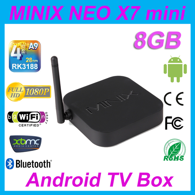 MINIX NEO X7 mini Android TV Box RK3188 Quad Core Google Smart Media Player 1080P Wifi HDMI RJ45 SPDIF 1080P 100% Original