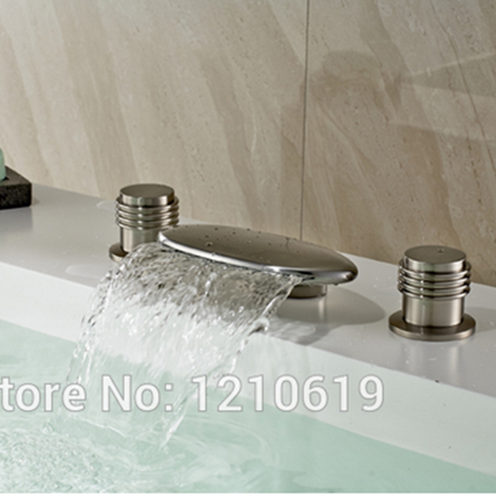 Newly US Free Shipping Fashion Nickle Brushed Bathroom Waterfall Tub Faucet Mixer Tap Solid Brass Shower Tap Deck Mounted new wall mounted dual handles three holes led light bathroom tub faucet brushed nickle waterfall shower bathtub faucet mixer tap