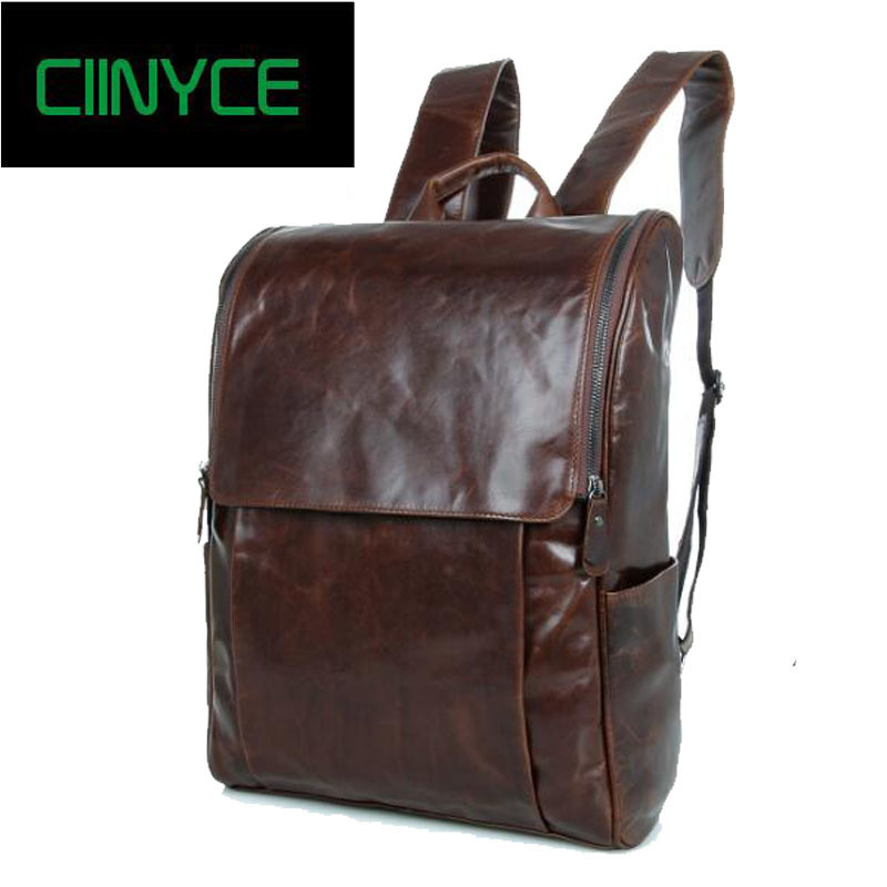 Nature Cow Leather skin shoulder male retro leisure first layer cowhide Vintage bag travel Laptop computer School Backpacks first layer cow skin 100