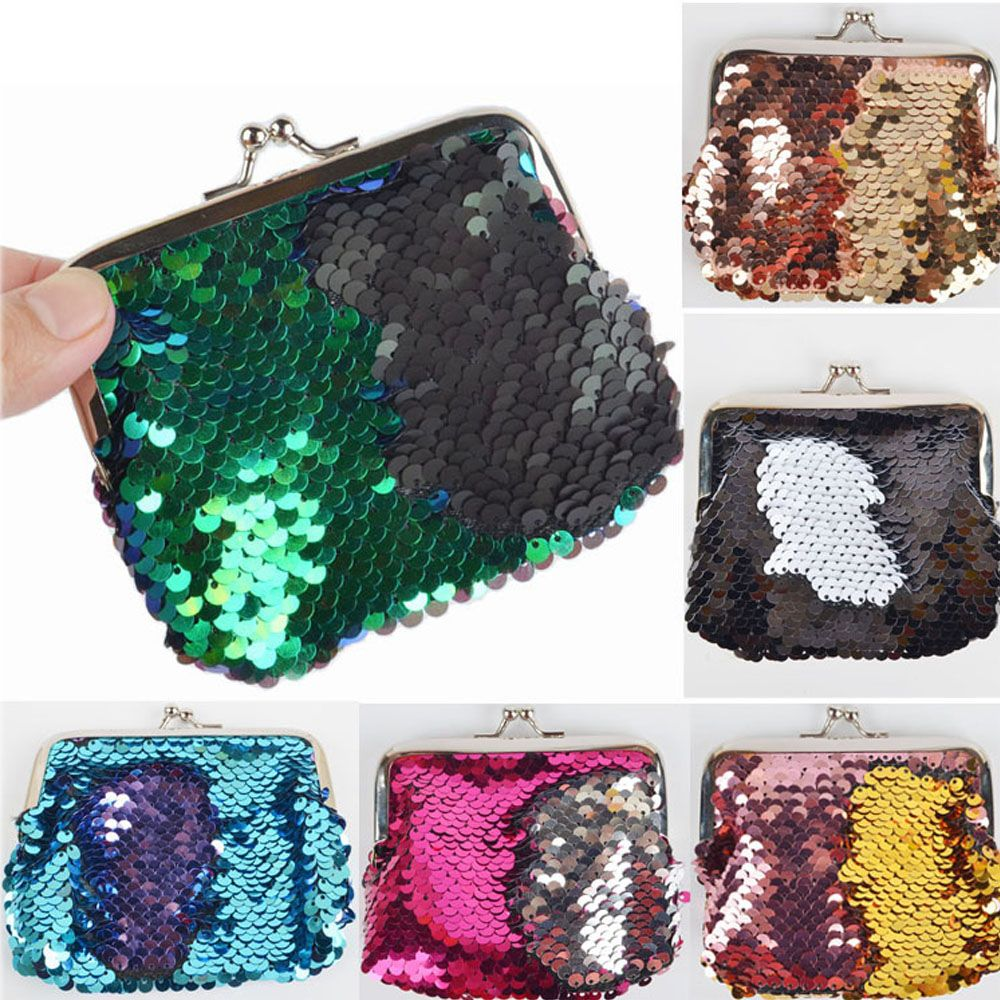 Christmas Gift For Girls Kid Sequins Glitter Coin Purse Double Color Mini  Wallet Clutch Buckle Fashion 43cccccb7f7c