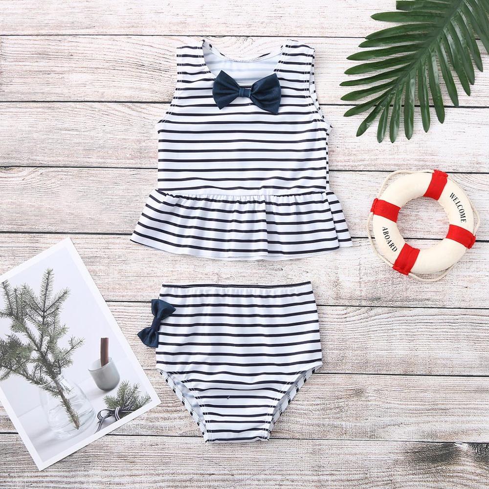 Children SwimwearGirls Kids Baby Girl Bow Swimsuit Striped Bathing Suit Bikini 2pc Set Swimwear Costumi Da Bagno BimbaA1