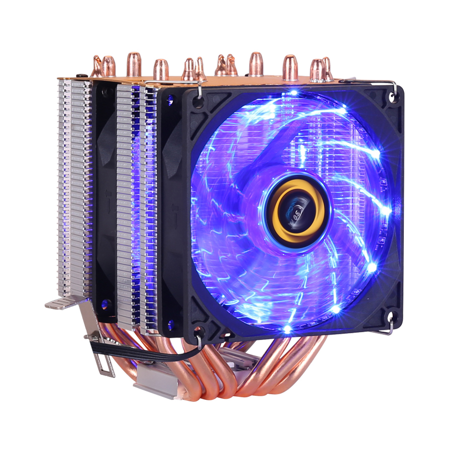 Image 3 - CPU cooler High quality 6 heat pipes dual tower cooling 9cm RGB fan support 3 fans 3PIN CPU Fan for Intel and For AMD-in Fans & Cooling from Computer & Office