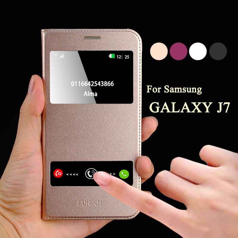 sale retailer cf106 34312 US $6.89 |Luxury Leather Flip Case For Samsung Galaxy J7 2016 Case Call  Window Cover For Samsung Galaxy J7 2016 Case Flip Phone J7 2016 -in Flip  Cases ...
