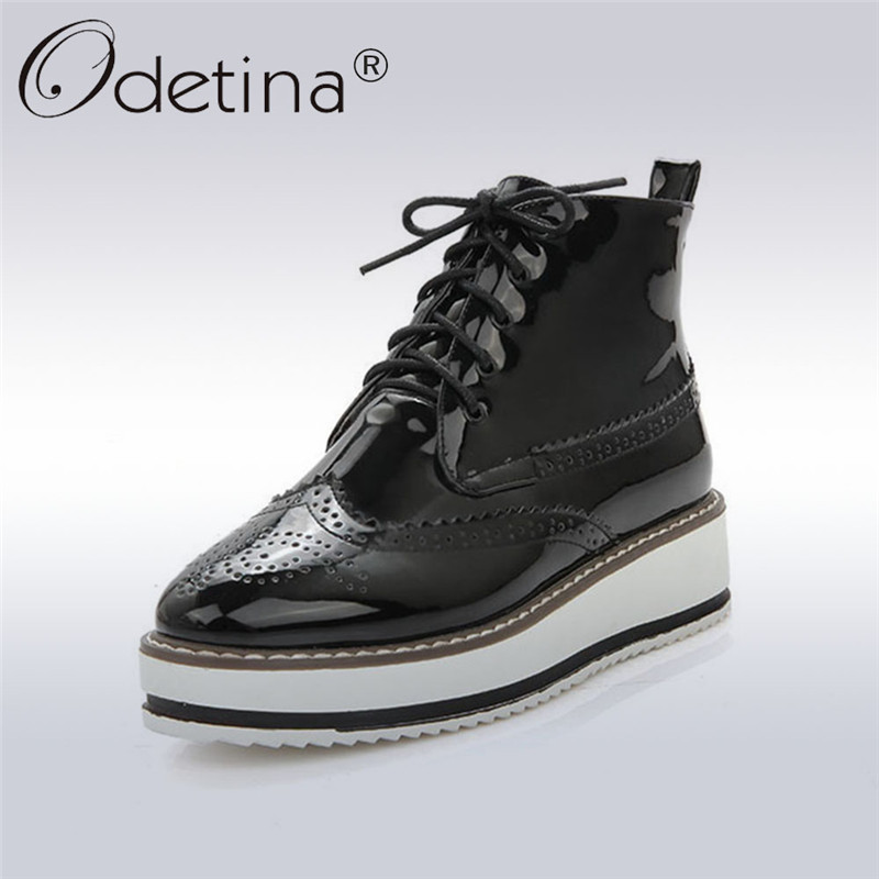 Odetina 2018 New Fashion Platform Ankle Boots For Women Lace Up Pointed Toe Brogue Shoes Ladies Wedges Heels Booties Big Size 43 brogue boots two tone