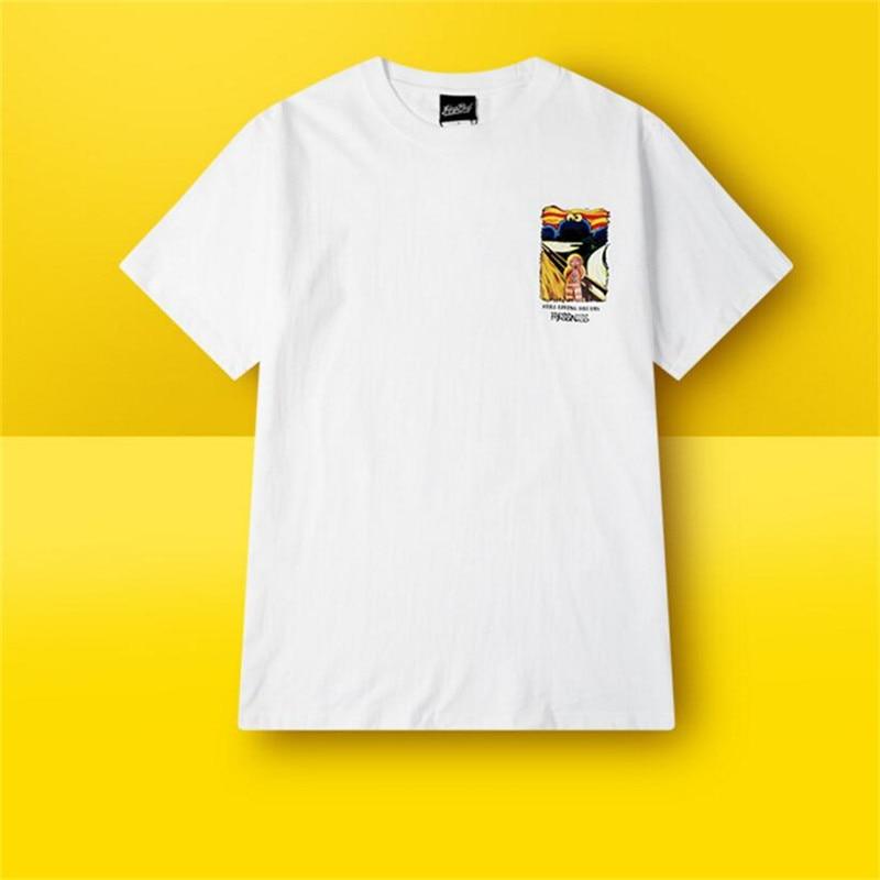 Skate de verão 100% algodão menino skate tshirt impresso rua roupas esportivas preto/branco manga curta t