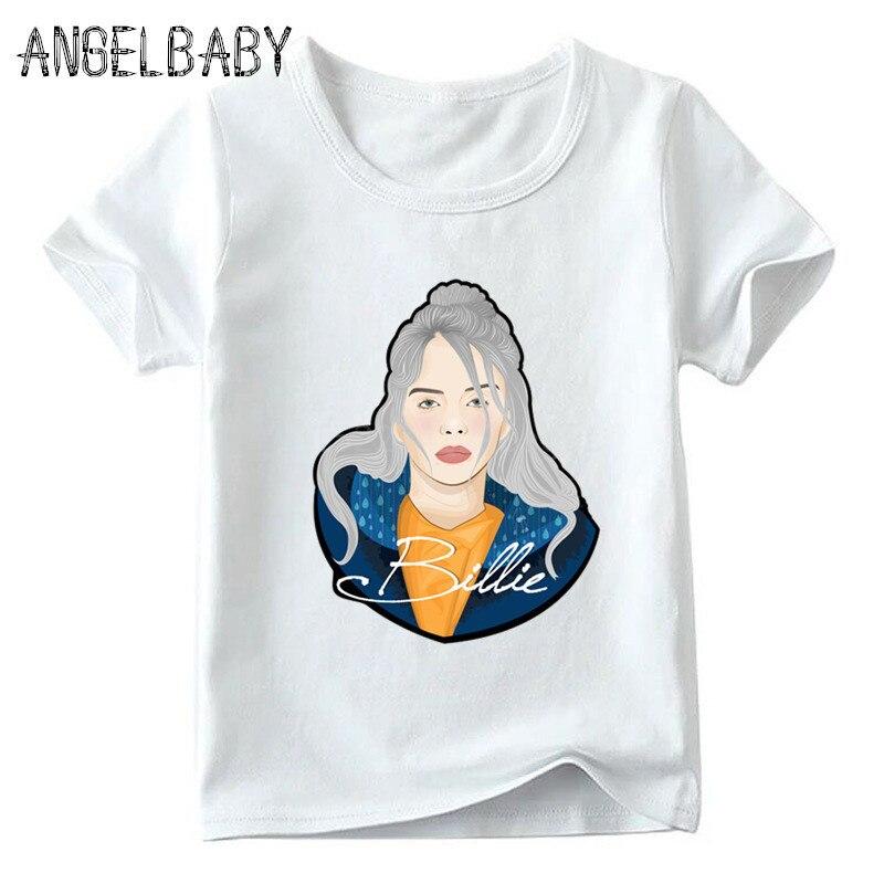 Boys/Girls Hip Hop Singer Billie Eilish Print T-shirt Children Summer Short Sleeve Tops Kids Fashion Casual Baby T Shirt,ooo5265