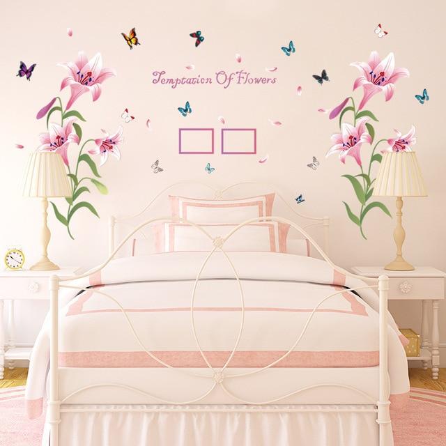 3D Wand Kunst Romantische Rosa Blumen Schlafzimmer Wohnzimmer TV  Wanddekoration Wandaufkleber Bad Glas Aufkleber Wand