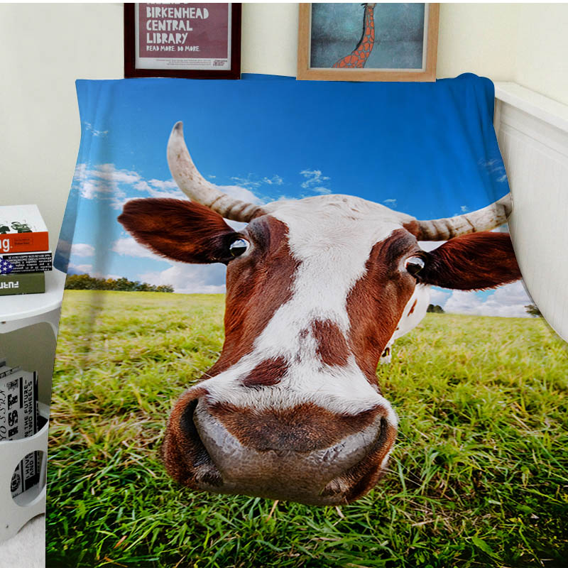 Blanket plaid Warmth Soft Plush Easy Care Machine Wash Pasture grass is fun to open the cows blue sky Plaids on the Sofa Bed