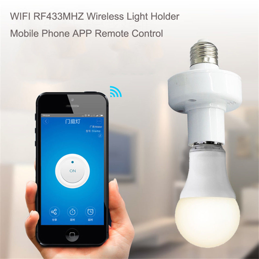 Sonoff <font><b>RF433MHz</b></font> Wireless Control Light Holder E27 WiFi Light Lamp Bulbs Holder For Smart Home Remote Control by IOS Android image