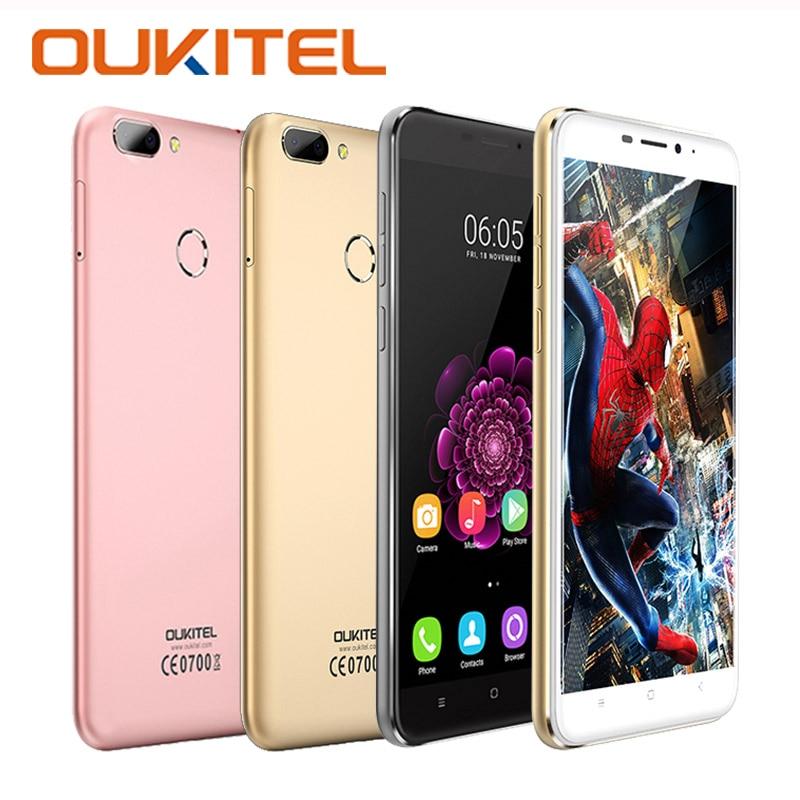 bilder für Original oukitel u20 plus smartphone mtk6737t quad core 16g rom 2G RAM Handy 1080 P Fingerabdruck 5,5 Zoll IPS FHD handy