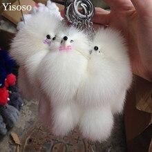 Yisoso 1 pc Brand Fox Fur Pom Pom Keychain Car Key Ring bowknot lovely Pendant Plush Fox Key Chain Women Bag Key Holder YS018