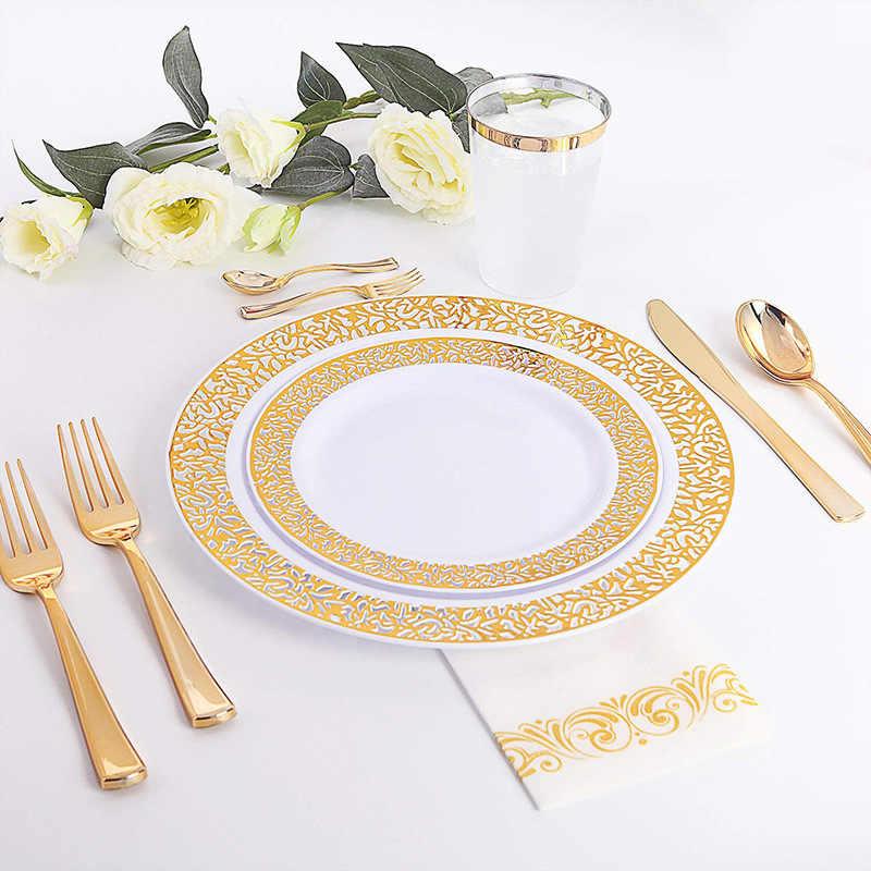 Золотые одноразовые пластиковые тарелки-кружевные дизайнерские пластиковые тарелки для свадебной вечеринки, золотые кружевные тарелки салат/десертные тарелки 25 упаковок