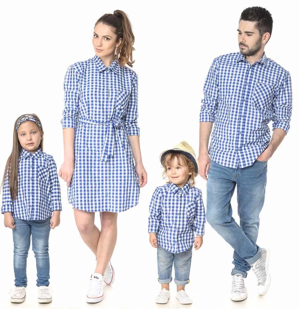チェック柄シャツ家族マッチング衣装ルック母娘お父さん息子ブラウスママと私服ママドレス服長袖