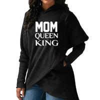 2018 New Fashion MOM QUEEN KING Print Hoodies Women Sweatshirts Tops Casual Irregular Thick Cotton Street Pullovers Female
