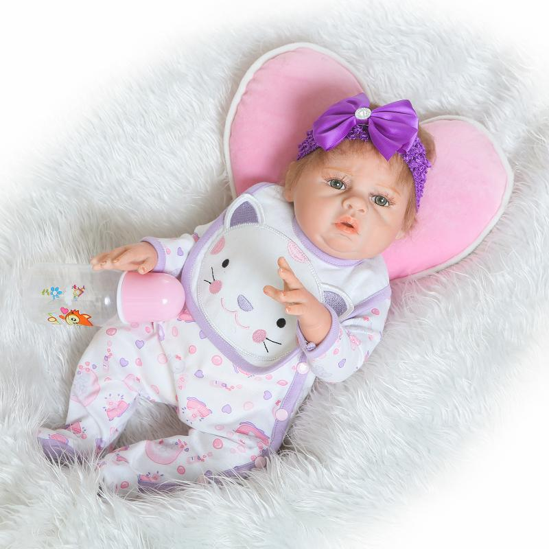 Nicery 22inch 55cm Magnetic Mouth Reborn Baby Doll Hard Silicone Lifelike Toy Gift for Children Christmas Purple White Cat Cloth large 24x24 cm simulation white cat with yellow head cat model lifelike big head squatting cat model decoration t187