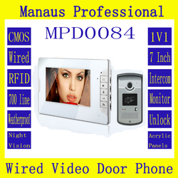 Hot selling Smart Home 7 inch Screen Display 1V1 Video Intercom Phone Wired RFID Magnetic Lock Video door phone D84b