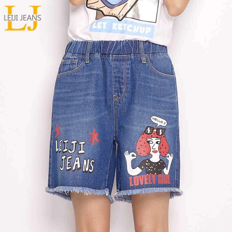 LEIJIJEANS 2019 Summer Figure Print Women jeans Knee Length Elastic Waist Plus Size Loose Deinm Capris sweety women shorts