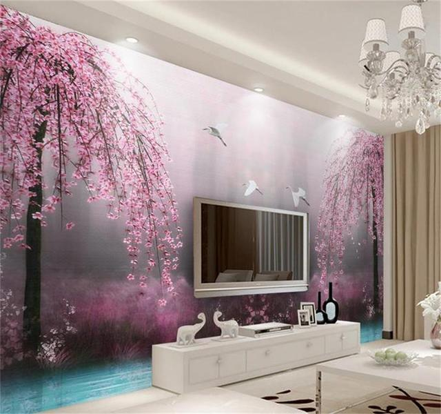3d Wallpaper Custom Photo Mural Living Room Pink Swan Lake Scenery Setting Wall  Decor Painting 3d
