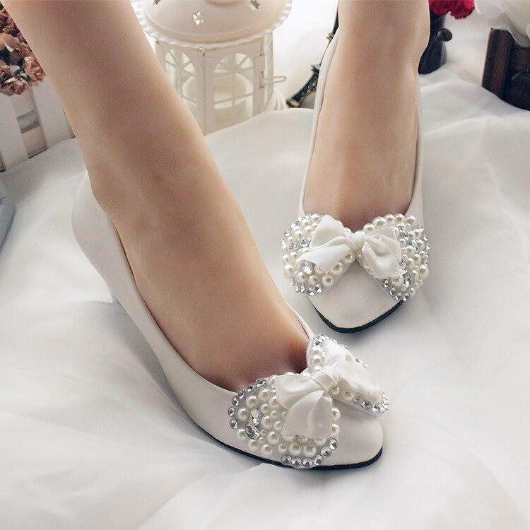 1919d25f4f0a ... 2018 handmade wedding shoes white bridal shoes full rhinestone pearl  aesthetic bow bridesmaid dress shoes free ...