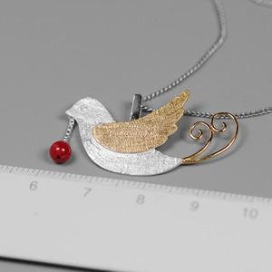 Image 4 - 蓮楽しいリアル 925 スターリングシルバー手作りのクリエイティブフライング鳥果物ネックレスなし女性のための
