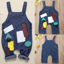 Одежда для маленьких мальчиков и девочек, джинсовый комбинезон, джинсовый комбинезон, повседневная одежда