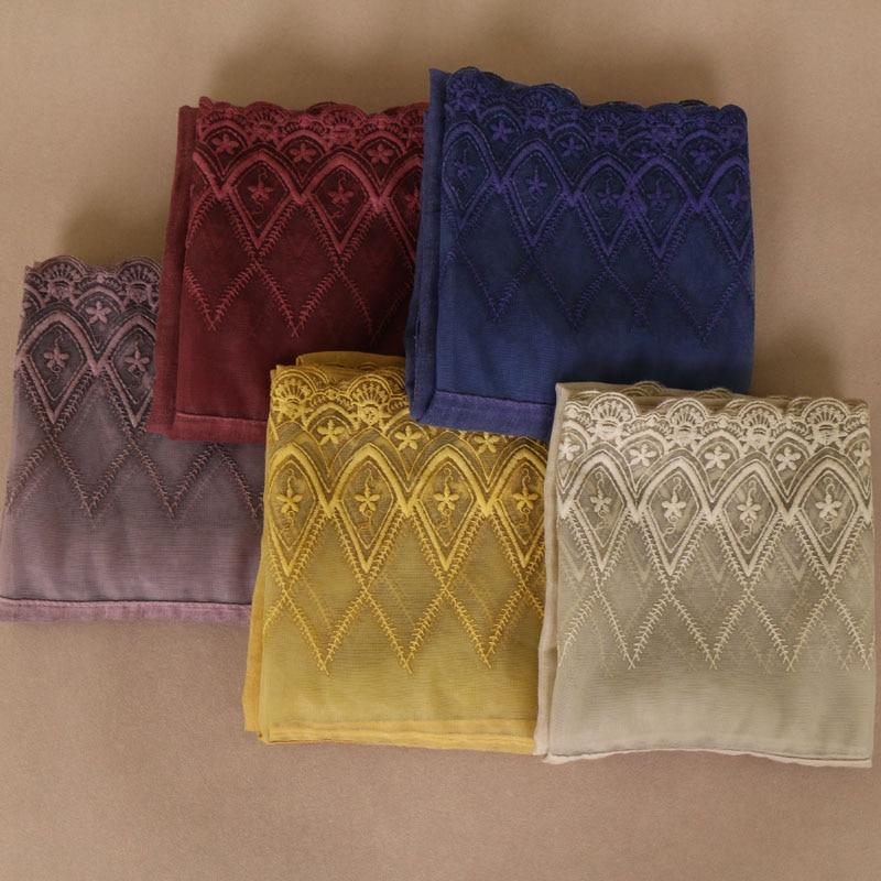 Laven women floral lace scarf bandhnu cotton lightweigt muslim hijab wraps headband scarves scarf 11 color
