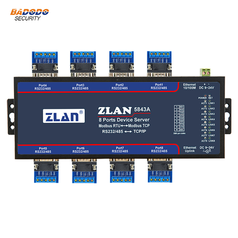 US $172 99 |ZLAN5843A 8 port RS232 RS485 to Ethernet converter industrial  multiple serial device server switch Modbus Gateways function-in Building