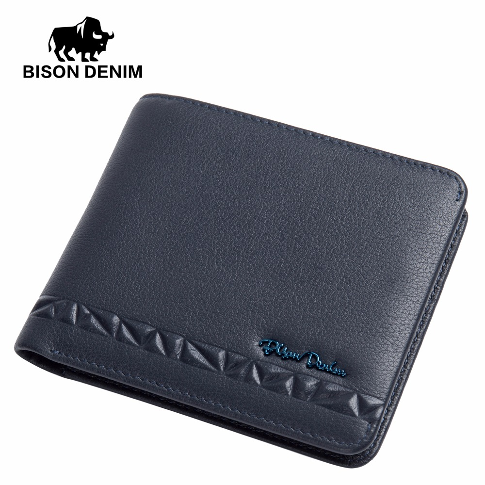 BISON DENIM Genuine Leather Wallet Male Card ID Holder Slim Mens Wallet Purse Luxury Brand Thin Cowskin Short Small Wallet N4448 kitavt75417unv10200 value kit advantus id badge holder chain avt75417 and universal small binder clips unv10200