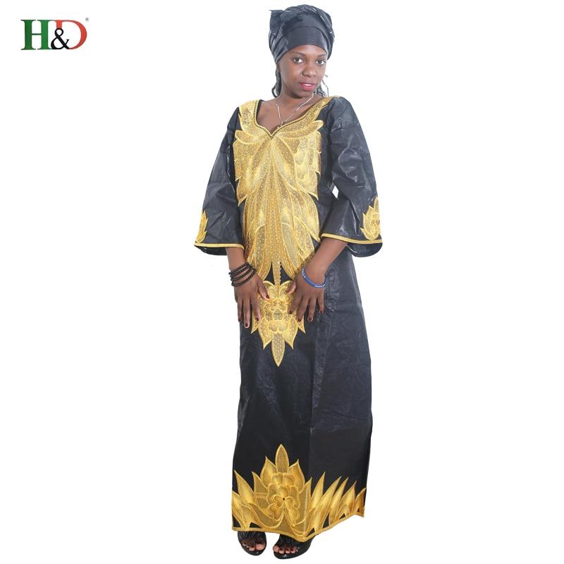 100% Kwaliteit H & D Afrikaanse Zwarte Borduren Jurk Voor Vrouwen 2018 Traditionele Bazin Kleding Stof Lange Jurk Robe De Soiree Africain Femme