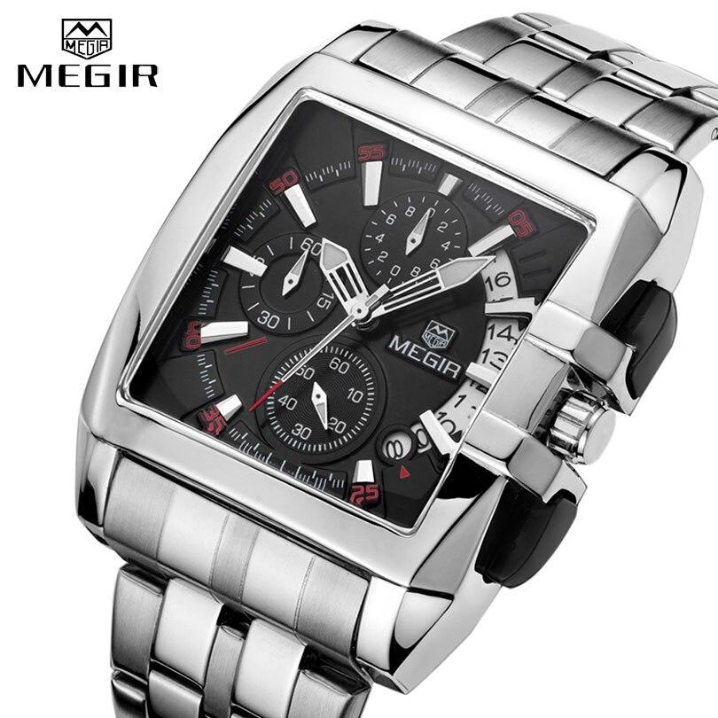 Männlichen Uhr Business Große Zifferblatt Armbanduhren MEGIR Top Marke Luxus Quarzuhr Männer Edelstahl Band Relogio Masculino