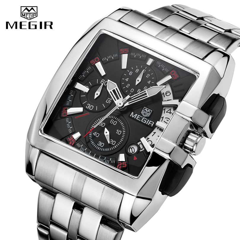 Male Clock Business Big Dial Wristwatches <font><b>MEGIR</b></font> Top Brand Luxury Quartz Watch Men Stainless Steel Band Relogio Masculino image