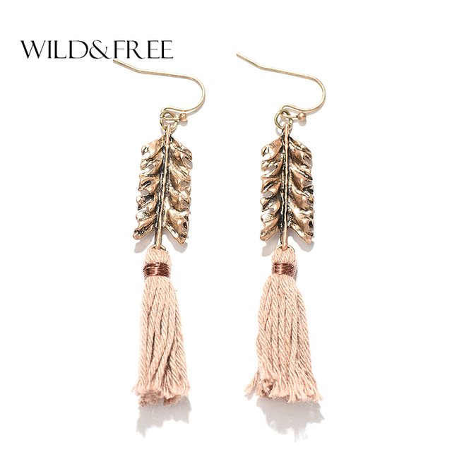 Bohemian Leaf Tel Drop Earrings Vintage Antique Gold Metal Cotton Handmade Dangle Earring Jewelry