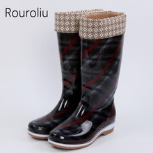 Rouroliu Femmes Mode Plaid Grand Rainboots Confortables Non-Glissement  Étanche Chaussures Bottes En Caoutchouc D 3ecff9fb5289