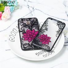 For Xiaomi Redmi 4X Case TPU +PC Lace Rose Flower Anti-knock Cover Funda BSNOVT